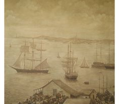 Handpainted Nantucket Harbor scenic painted in sepia tones.  SIZE: Custom order scenics are painted to fit room elevations