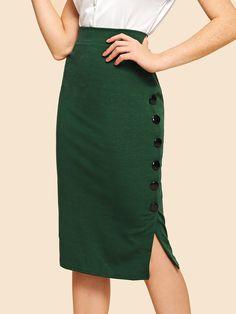 Women Vintage and Elegant Wrap Plain Bodycon Mid Waist Green Midi Length Button Detail Split Solid Skirt Fashion News, Boho Fashion, Fashion Outfits, Womens Fashion, Fashion Trends, Damen Rock Elegant, Blouse Dress, Dress Skirt, Rockabilly Vintage