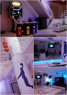 Sports Theme Bar Mitzvah - Games, Basketball Court Dance Floor & Glow in the Dark Arcades, New York City {Party at 404 NYC, Rebecca Weiss Photography} - mazelmoments.com