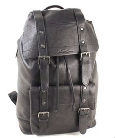 7b60d278d5 Kenneth Cole New York The Black Leather Backpack  Men s - Black  fashion   clothing