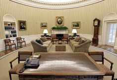 Wallpaper is not new to the Oval Office or the White House.  The New York custom made light mocha-ish stripes are reminiscent of the bold gold ones in the sitting room of Blair House.  Abraham Lincoln's presidential portrait, no doubt, garners a better view from the Obama refurbished Oval as both presidents hale from Illinois.  In President Obama's private office outside the formal Oval hangs a large portrait of Justice Thurgood Marshall that traveled up Pennsylvania Avenue with him in…