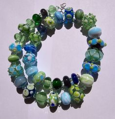 necklace with handmade lampwork beads Glass Necklace, Lampwork Beads, Wreaths, Handmade, Decor, Hand Made, Decoration, Door Wreaths, Deco Mesh Wreaths