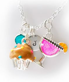 Take a look at this Chocolate Cupcakes & Cocktails Initial Charm Necklace by The Sassy Apple on #zulily today!