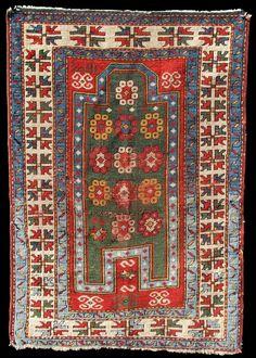 AH 1281 AD) dated Kazak Prayer rug, Azerbaijan Art Chinois, Art Japonais, Classic Rugs, Prayer Rug, Oriental Rugs, Magic Carpet, Tribal Rug, Soft Furnishings, Decor Crafts