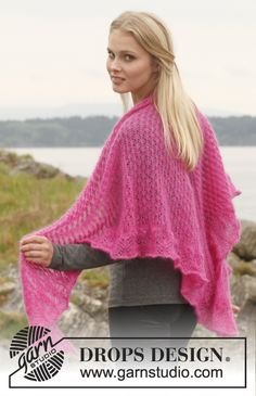 "Knitted DROPS shawl with lace pattern in ""Kid-Silk"". ~ DROPS Design"