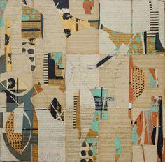 "Melinda Tidwell: 160627: Cheetah 16x16"" book collage on panel"