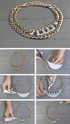 Helskette mit Goldketten und Kristallen selber machen