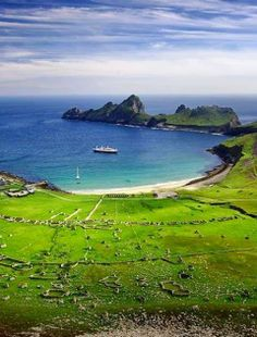 """Hirta Hirta is the largest island in the St Kilda archipelago, on the western edge of Scotland. The names """"Hiort"""" and """"Hirta"""" have also been applied to the entire archipelago. Oh The Places You'll Go, Places Around The World, Places To Visit, Around The Worlds, St Kilda Scotland, Destinations, Scotland Travel, Scotland Trip, Scotland Castles"""