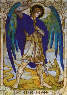 Archangel Michael            From a mosaic by  James Powell            St Johns Church, Wiltshire  around 1888-1915