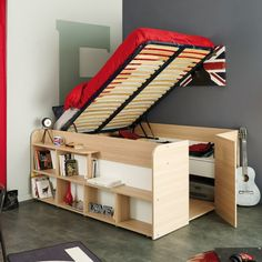 Funktionsbett-Space-Up-Parisot Quelle : alishaheitzler Tiny Spaces, Small Rooms, Space Up, Ideas Hogar, Outdoor Furniture, Outdoor Decor, Shoe Rack, Ikea, Cabinet
