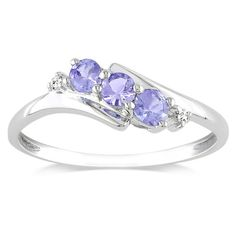 Amazon.com: 10k White Gold Tanzanite and Diamond 3 Stone Ring (0.018 cttw, GHI Color, I2-I3 Clarity): Jewelry