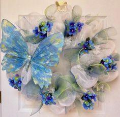 New Full Premium Summer Handmade Deco Mesh Pastel Floral Butterfly Wreath | eBay