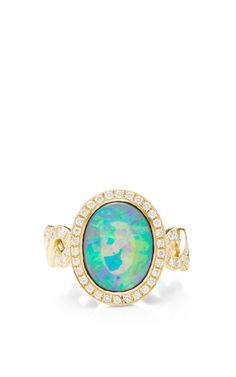 Crystal Opal And Diamond Twisting Vine Ring by Katherine Jetter for Preorder on Moda Operandi