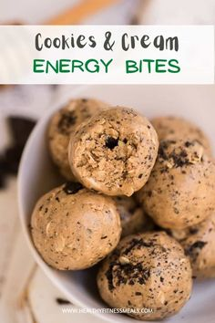 Simple and easy Energy Bites made with only 4 ingredients. Cookies and cream flavored and the perfect healthy snack to have on the go, pre or post-workout, or as a dessert throughout the day. All you need is 5 minutes to whip up these energy balls. #energybites #energyballs #proteinbites #proteinballs #healthysnacks via @healthyfitnessmeals