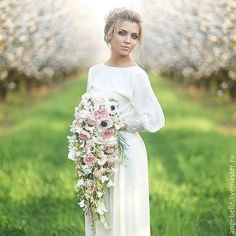 Купить Дизайнерское свадебное платье . Каролина - кремовый, свадебное платье, бохо свадебное платье