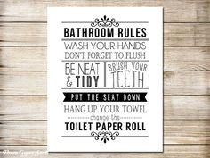 Funny Bathroom Art - Black and White Bathroom Rules Printable Art