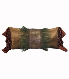 Bronze and brick velvet oversized rectangle accent pillow with faux croc and peacock feather accents