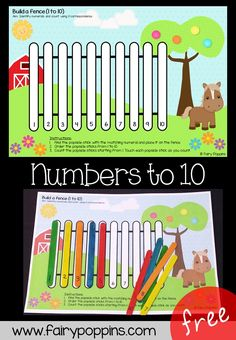 These free number ordering mats are great for kids in kindergarten or foundation. Learning Numbers for Toddlers Learning Numbers Preschool, Early Learning Activities, Farm Activities, Teaching Numbers, Numbers Kindergarten, Counting Activities, Hands On Activities, Kindergarten Activities, Preschool Activities