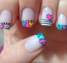 . Love Nails, Pretty Nails, Fun Nails, Easy Nail Art, Cute Nail Art, Kawaii Nail Art, Valentine Nail Art, Nails For Kids, French Tip Nails