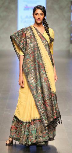 By designer Gaurang Silk Saree Kanchipuram, Kalamkari Saree, Silk Sarees, India Fashion Week, Lakme Fashion Week, Saree Fashion, Fashion Weeks, Women's Fashion, Indian Wedding Outfits