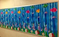 Under the Sea bulletin board Class Decoration, School Decorations, Sea Bulletin Board, Preschool Crafts, Crafts For Kids, Underwater Birthday, Under The Sea Decorations, Library Themes, Under The Sea Theme