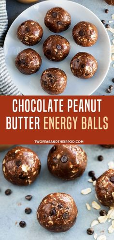 The Perfect Healthy No-Bake Snack Or Treat for anytime of the day! This Chocolate Peanut Butter Energy Balls takes only 10 minutes and 8 simple ingredients to make. These healthy energy balls are packed with protein, healthy fats, and fiber. Try making this today!