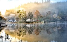nature landscapes lakes water reflection glass shine fog mist haze autumn fall seasons hills trees forest sunrise morning shore pier dock architecture buildings houses scenic