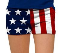 Womens Mini Shorts by Loudmouth Golf - Stars & Stripes.  Buy it @ ReadyGolf.com