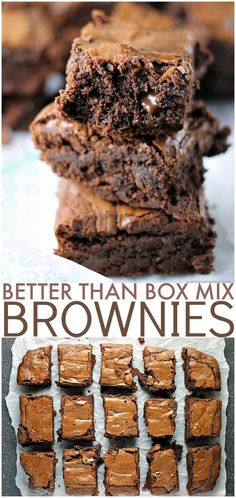 "Than Box Mix Chocolate Brownies Why make a box mix brownies when I'll bet you have everything on hand to make these? They really are ""Better Than Box Mix"" brownies! Best Brownies, Chocolate Brownies, Chocolate Desserts, Fun Desserts, Delicious Desserts, Dessert Recipes, Yummy Food, Cake Mix Brownies, Cocoa Powder Brownies"