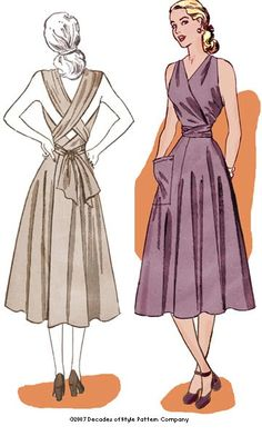 """Decades of Style sundress #4003 1948 Siren Sundress  Size B (38"""" Bust)  needs 4.33 yards of 45"""" wide fabric, or 3.0 yards of 60"""" wide fabric"""