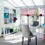 Beautiful bright office, love the combination and the windows shades.