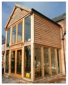 wooden two story extension Bungalow Extensions, Garden Room Extensions, House Extensions, Rear Extension, Extension Ideas, Extension Google, Building Extension, Oak Framed Extensions, Traditional Front Doors