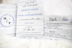 rustic, light wood, purple 2 sided wedding invitation and monogram
