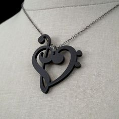 Treble & Bass Clef Heart Necklace  Laser Cut Acrylic  Music