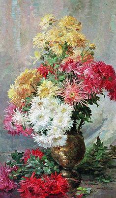 Albert-Tibulle Furcy de Lavault    Bouquet of Chrysanthemums in a Vase    19th century