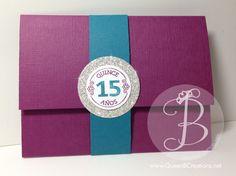 handmade Quinceañera invitation (15th birthday celebration) using the Stampin' Up Quinceañera stamp set