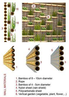 Bamboo green wall by Casa Bb / H&P Architects Bamboo Art, Bamboo Crafts, Vertical Vegetable Gardens, Green Facade, Bamboo Structure, Bamboo Construction, Bamboo Architecture, Bamboo House, Bamboo Design