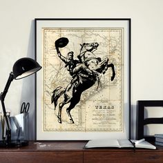 Vintage Cowboy Rodeo Map of North America Texas Art Print Poster West Art Instant Download Printable A4 A3 8×10 & 11x14 Wall HQ300dpi by ZikkiArt on Etsy