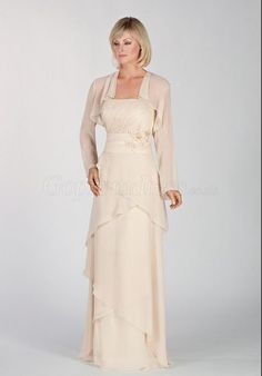 Strapless Chiffon Sheath Floor-length Mother of the Bride Dress With A Wrap - Gopromdress.co.uk