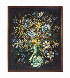 A European acrylic beadwork picture mid-20th century, probably Italian. Depicting a vase of flowers, signed to the right corner 'Caly', designed to be back-lit #lestroisgarcons