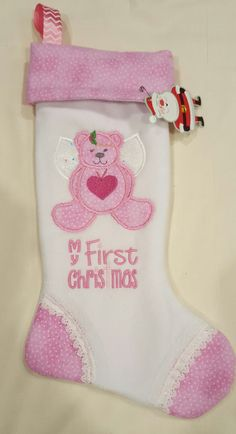 Baby First Christmas Stocking Unicorns and Phenix Ch Personalized Christmas Stockings Pink Christmas Stocking Unicorn Christmas Stocking