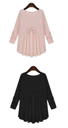Cute loose blouse with interesting  bowknot &pleated feature - like so lovely and so soft with its material!