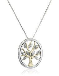Tree of Life 14K Yellow Gold Diamond Accent Necklace