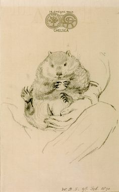 """Titled: """"Rossetti's Wombat Seated in his Master's Lap"""" sketch by William Bell Scott, 1871. (Likely Rossetti's Canadian woodchuck instead)"""