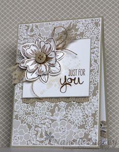 Stampin' Up! Something Lacy, Flower Shop. Could use Botanical Blooms Handmade Greetings, Greeting Cards Handmade, Wedding Anniversary Cards, Wedding Cards, Stamping Up Cards, Pretty Cards, Flower Cards, Creative Cards, Homemade Cards
