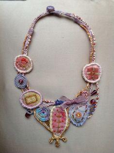 Marinela Kozelj, Necklace with recycled painted silk,beads, 05