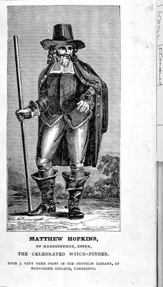 """Portrait of Matthew Hopkins, """"The Celebrated """"Witch-finder"""" from the 1837 edition of his 1647 book """"The Discovery of Witches"""" -- Wellcome - Matthew Hopkins - Wikipedia Witchfinder General, Witch History, Elizabethan Era, Tabletop Rpg, Fantasy Series, Witchcraft, Witches, Reformation, Portrait"""