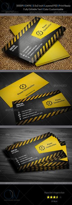 Construction Business Card — Photoshop PSD #shipping #import • Available here → https://graphicriver.net/item/construction-business-card/3553260?ref=pxcr