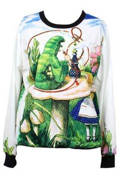 ROMWE | Cartoon Printed Scoop Neck Pullover, The Latest Street Fashion