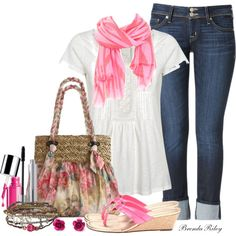 """""""Scarf & Tee With a Flash"""" by brendariley-1 on Polyvore"""